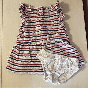 Baby Girl Red White Blue Stripe Set